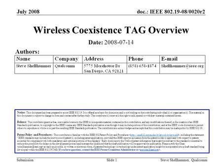 Doc.: IEEE 802.19-08/0020r2 Submission July 2008 Steve Shellhammer, QualcommSlide 1 Wireless Coexistence TAG Overview Notice: This document has been prepared.
