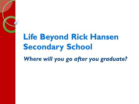 Life Beyond Rick Hansen Secondary School Where will you go after you graduate?