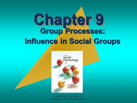 Aronson Social Psychology, 5/e Copyright © 2005 by Prentice-Hall, Inc. Chapter 9 Group Processes: Influence in Social Groups.