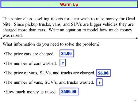 Warm Up The senior class is selling tickets for a car wash to raise money for Grad Nite. Since pickup trucks, vans, and SUVs are bigger vehicles they are.