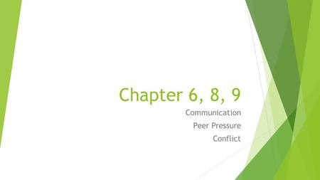 Chapter 6, 8, 9 Communication Peer Pressure Conflict.