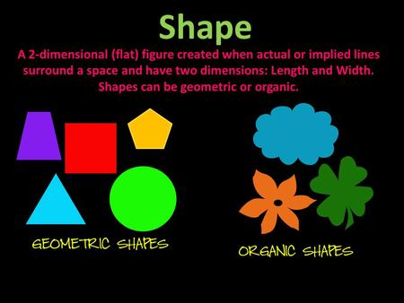 Shape A 2-dimensional (flat) figure created when actual or implied lines surround a space and have two dimensions: Length and Width. Shapes can be geometric.