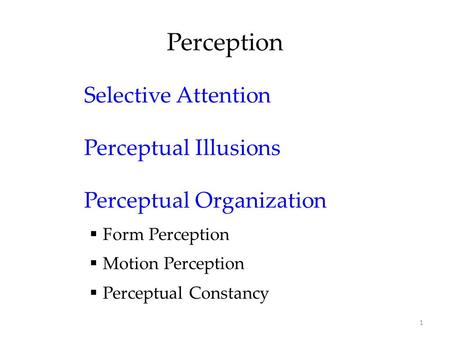 1 Perception Selective Attention Perceptual Illusions Perceptual Organization  Form Perception  Motion Perception  Perceptual Constancy.