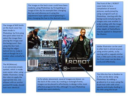 The front of the I, ROBOT cover looks to be a compilation of several pictures, easily joined by using a program such as Photoshop, starting with the background.