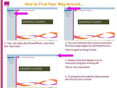 How to Find Your Way Around… 1. You can play the PowerPoint, and find the Test here EXAMPLE COURSE 2. You can minimise this column and make the main page.