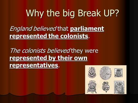 Why the big Break UP? England believed that parliament represented the colonists. The colonists believed they were represented by their own representatives.