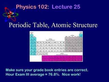 Periodic Table, Atomic Structure Physics 102: Lecture 25 Make sure your grade book entries are correct. Hour Exam III average = 76.8%. Nice work!