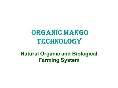 ORGANIC MANGO TECHNOLOGY Natural Organic and Biological Farming System.