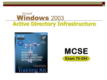Active Directory Infrastructure Microsoft Windows 2003 Active Directory Infrastructure MCSE Exam 70-294.