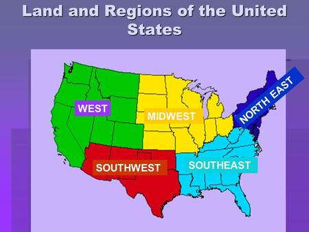 Land and Regions of the United States WEST MIDWEST NORTH EAST SOUTHWEST SOUTHEAST.