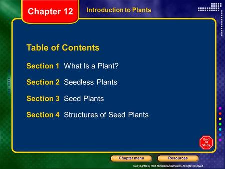 Copyright © by Holt, Rinehart and Winston. All rights reserved. ResourcesChapter menu Introduction to Plants Section 1 What Is a Plant? Section 2 Seedless.