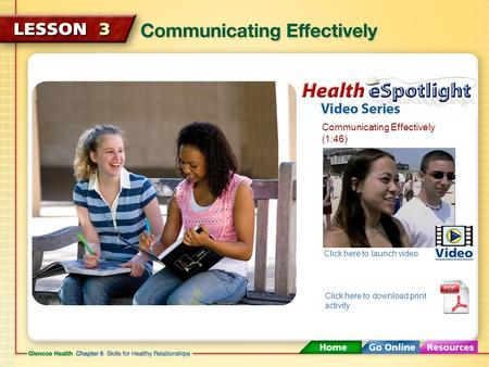 Communicating Effectively (1:46) Click here to launch video Click here to download print activity.