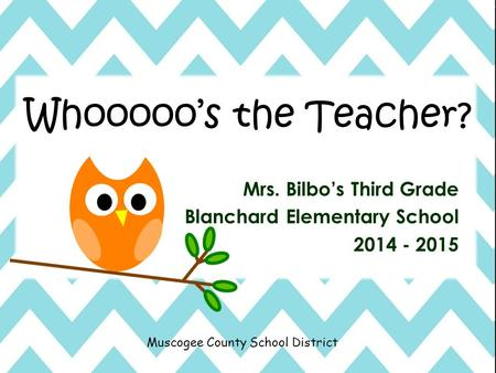 Muscogee County School District Mrs. Bilbo's Third Grade Blanchard Elementary School 2014 - 2015 Whooooo's the Teacher?