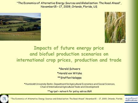 """The Economics of Alternative Energy Sources and Globalization: The Road Ahead"", November15 – 17, 2009, Orlando, Florida Impacts of future energy price."