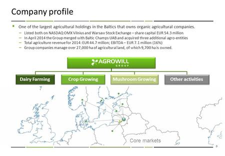 0 Company profile  One of the largest agricultural holdings in the Baltics that owns organic agricultural companies. – Listed both on NASDAQ OMX Vilnius.