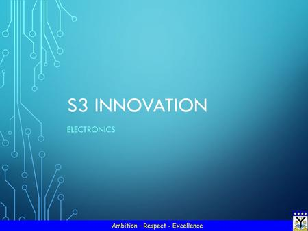 S3 INNOVATION ELECTRONICS. STARTER – IN YOUR GROUPS… With the person sitting closest to the door writing down your suggestions on the sheet of paper,