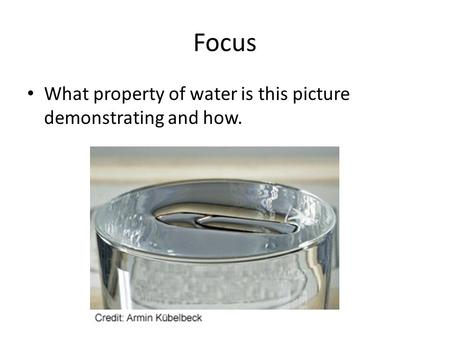 Focus What property of water is this picture demonstrating and how.