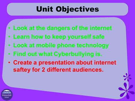 Unit Objectives Look at the dangers of the internet Learn how to keep yourself safe Look at mobile phone technology Find out what Cyberbullying is. Create.