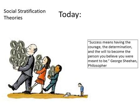 "Today: Social Stratification Theories ""Success means having the courage, the determination, and the will to become the person you believe you were meant."
