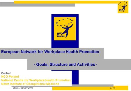Status: February 2003 1 / 25 Contact: NCO Poland National Centre for Workplace Health Promotion Nofer Institute of Occupational Medicine European Network.