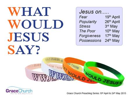 Steve Petch Sunday 24 th May 2015 What Would Jesus Say? Part 6: Jesus on Possessions.