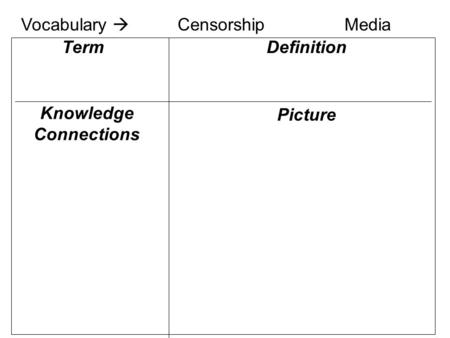Knowledge Connections Definition Picture Term Vocabulary  CensorshipMedia.