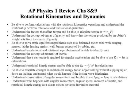 AP Physics 1 Review Chs 8&9 Rotational Kinematics and Dynamics.