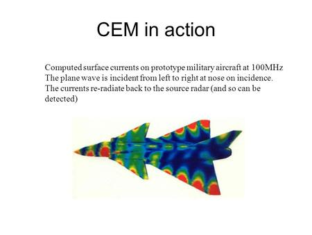 CEM in action Computed surface currents on prototype military aircraft at 100MHz The plane wave is incident from left to right at nose on incidence. The.