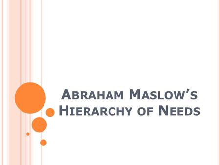 A BRAHAM M ASLOW ' S H IERARCHY OF N EEDS. I NTRODUCTION Abraham Maslow.