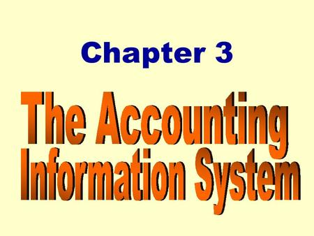 Chapter 3. 2 Chapter 3 The Accounting Information System After studying Chapter 3, you should be able to: zAnalyze the effect of business transactions.