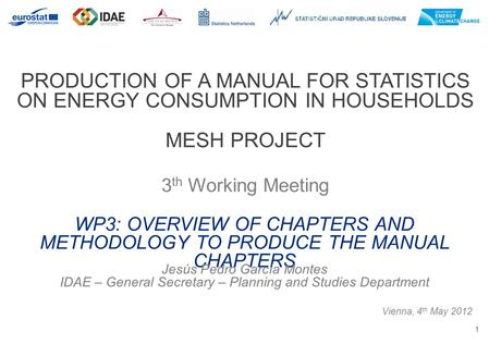 1 PRODUCTION OF A MANUAL FOR STATISTICS ON ENERGY CONSUMPTION IN HOUSEHOLDS MESH PROJECT 3 th Working Meeting Vienna, 4 th May 2012 WP3: OVERVIEW OF CHAPTERS.