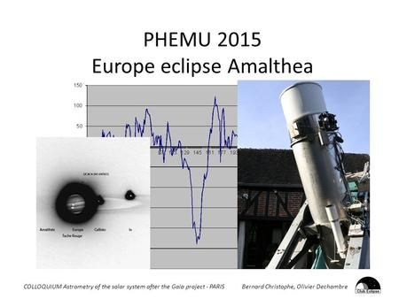 PHEMU 2015 Europe eclipse Amalthea COLLOQUIUM Astrometry of the solar system after the Gaia project - PARIS Bernard Christophe, Olivier Dechambre.
