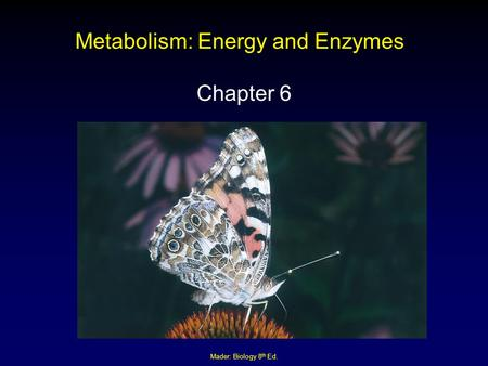 Mader: Biology 8 th Ed. Metabolism: Energy and Enzymes Chapter 6.