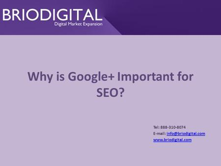 Why is Google+ Important for SEO? Tel: 888-310-8074