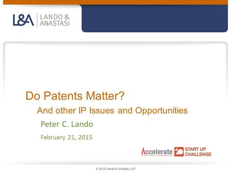  2015 Lando & Anastasi, LLP Do Patents Matter? And other IP Issues and Opportunities Peter C. Lando February 21, 2015.