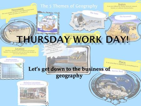 Let's get down to the business of geography.  Do Nows - 5 lines is required for points - do not use pen  Chapter 1, Section 1 DRA/Vocab - Due Monday,