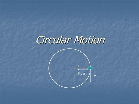 Circular Motion r v F c, a c. Centripetal acceleration – acceleration of an object in circular motion. It is directed toward the center of the circular.