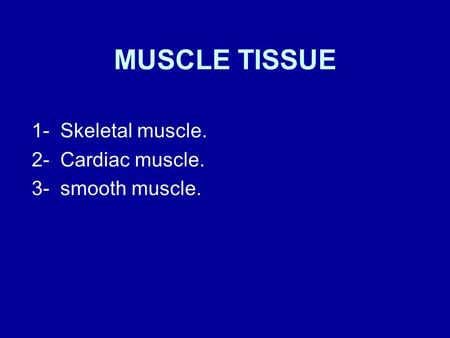 1- Skeletal muscle. 2- Cardiac muscle. 3- smooth muscle.