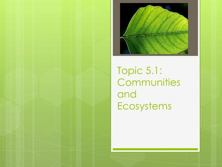 Topic 5.1: Communities and Ecosystems. 5.1 Assessment Statements 5.1.1 Define species, habitat, population, community, ecosystem and ecology. 5.1.2 Distinguish.