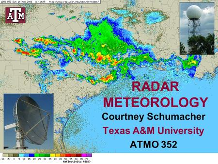 RADAR METEOROLOGY Courtney Schumacher Texas A&M University ATMO 352.