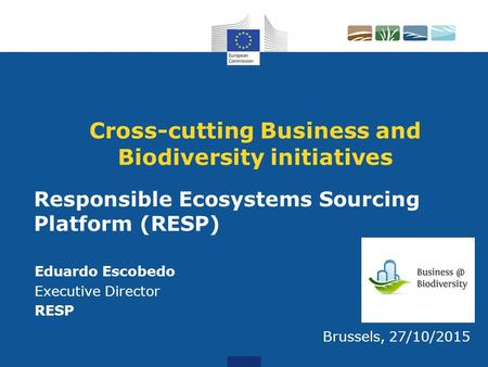 Cross-cutting Business and Biodiversity initiatives Eduardo Escobedo Executive Director RESP Brussels, 27/10/2015 Responsible Ecosystems Sourcing Platform.