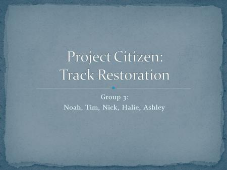 Group 3: Noah, Tim, Nick, Halie, Ashley. The alternative proposal that we are going to chose is re- doing the track and soccer field with adding lights.