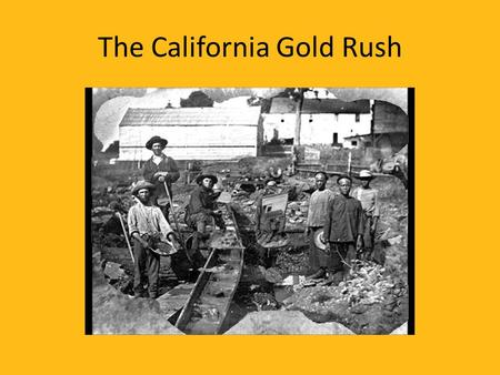 The California Gold Rush. John Sutter Gold was found on his land.