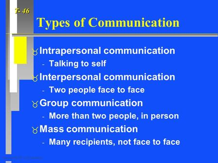 T- 46 Copyright©1997, Allyn & Bacon Types of Communication  Intrapersonal communication - Talking to self  Interpersonal communication - Two people face.