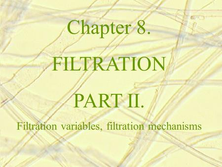 Chapter 8. FILTRATION PART II. Filtration variables, filtration mechanisms.