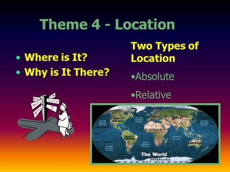 Theme 4 - Location Where is It?Where is It? Why is It There?Why is It There? Two Types of Location Absolute Relative.