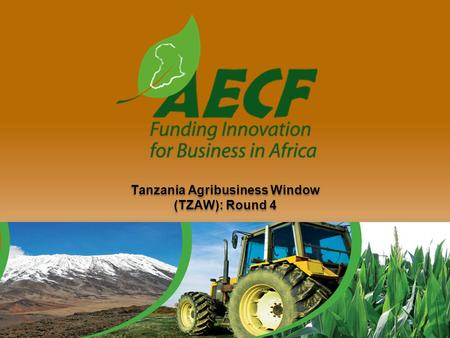 Tanzania Agribusiness Window (TZAW): Round 4. The Presentation Introduction to the AECF  Goal/Purpose of the AECF  Funders and Partners Finding the.
