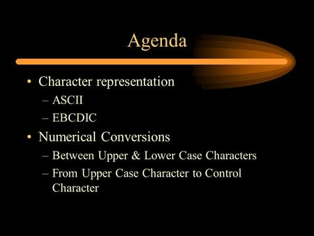 Agenda Character representation –ASCII –EBCDIC Numerical Conversions –Between Upper & Lower Case Characters –From Upper Case Character to Control Character.