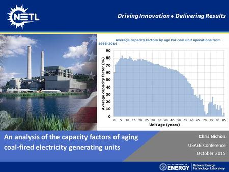 National Energy Technology Laboratory Driving Innovation ♦ Delivering Results Chris Nichols USAEE Conference October 2015 An analysis of the capacity factors.