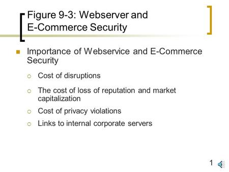 1 Figure 9-3: Webserver and E-Commerce Security Importance of Webservice and E-Commerce Security  Cost of disruptions  The cost of loss of reputation.